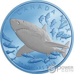 GREAT WHITE SHARK Tiburon Blanco 2 Oz Moneda Plata 30$ Canada 2018