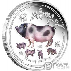 PIG Lunar Year Series Coloured 1 Oz Серебро Монета 1$ Австралия 2019