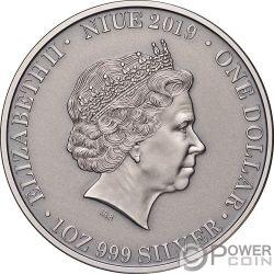 WEDGE TAILED EAGLE Wildlife Up Close 1 Oz Серебро Монета 1$ Ниуэ 2019