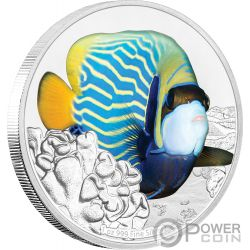 ANGELFISH Pesce Angelo Reef Fish 1 Oz Moneta Argento 2$ Niue 2018