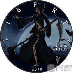LIBERTY REAPER Muerte Walking Eagle 1 Oz Moneda Plata 1$ USA 2018