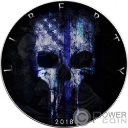 BLUE LINE SKULL Walking Liberty 1 Oz Серебро Монета 1$ США 2018