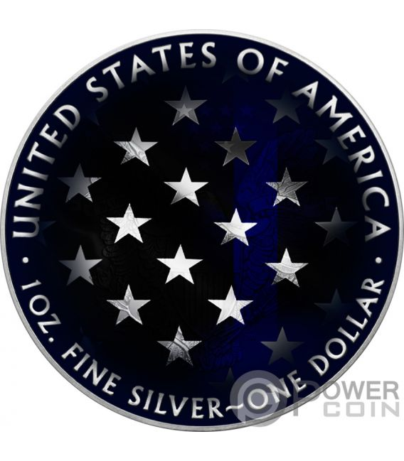 BLUE LINE SKULL Walking Liberty 1 Oz Silver Coin 1$ USA 2018
