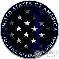 BLUE LINE SKULL Calavera Walking Liberty 1 Oz Moneda Plata 1$ USA 2018