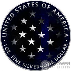 BLUE LINE SKULL Schädel Walking Liberty 1 Oz Silber Münze 1$ USA 2018