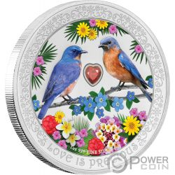 BLUEBIRDS Hüttensänger Love is Precious 1 Oz Silber Münze 2$ Niue 2019