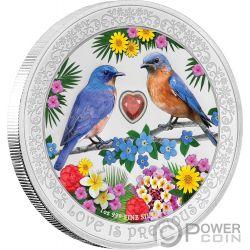 BLUEBIRDS Love is Precious 1 Oz Серебро Монета 2$ Ниуэ 2019
