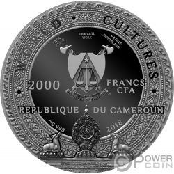 KAPALA World Cultures 2 Oz Moneda Plata 2000 Francos Cameroon 2018