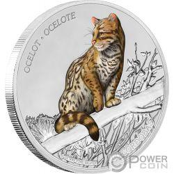 OCELOT Wildlife 1 Oz Серебро Монета 100 Кордоб Никарагуа 2018