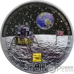 MOON LANDING Aterrizaje Lunar Apollo 50 Aniversario 3 Oz Moneda Plata 20$ Cook Islands 2019