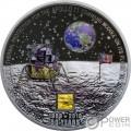 MOON LANDING Aterrizaje Lunar Apollo 50 Aniversario 3 Oz Moneda Plata 20$ Cook Islands 2019
