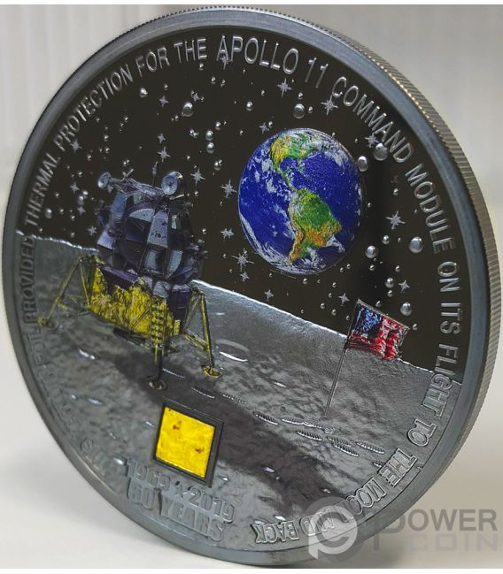 MOON LANDING Apollo 11 50th Anniversary 3 Oz Silver Coin 20$ Cook Islands 2019