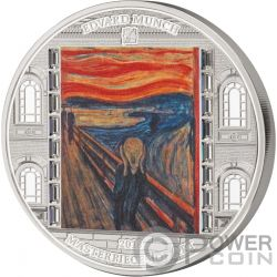 SCREAM Grito Munch Masterpieces of Art 3 Oz Moneda Plata 20$ Cook Islands 2018