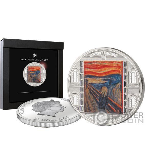 SCREAM Grito Munch Masterpieces of Art 3 Oz Moneda Plata 20$ Cook Islands 2018