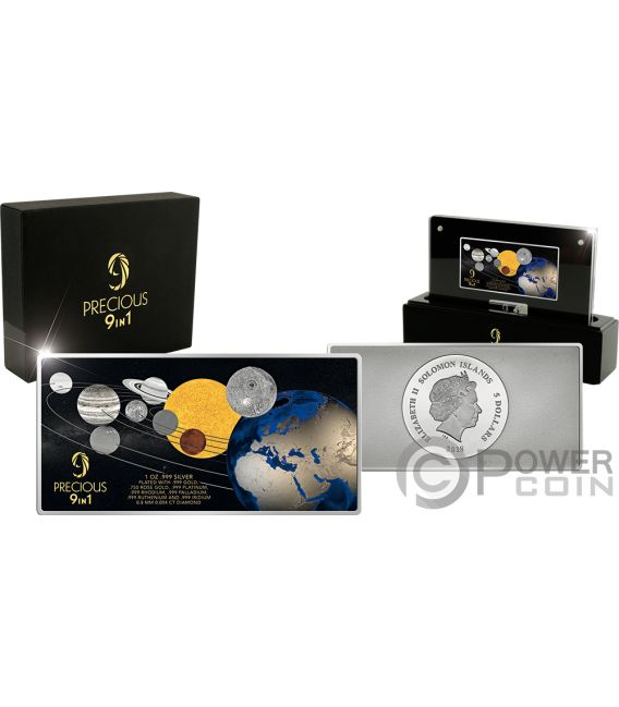 MOON LANDING 50th Anniversary Precious 1 Oz Silver Coin 5$ Solomon Islands 2018
