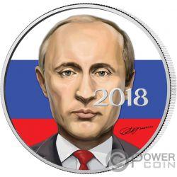 VLADIMIR PUTIN President 1 Oz Серебро Монета 3 Рупии Россия 2018