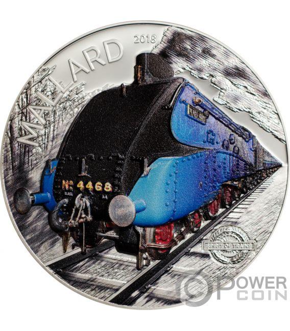 MALLARD Spirit of Trains 2 Oz Silver Coin 10$ Cook Islands 2018