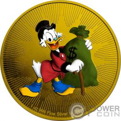 SCROOGE MCDUCK DuckTales Tio Rico McPato Disney 1 Oz Moneda Plata 2$ Niue 2018