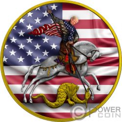 VICTORIOUS Saint George Trump 1 Oz Серебро Монета 3 Рупии Россия 2010