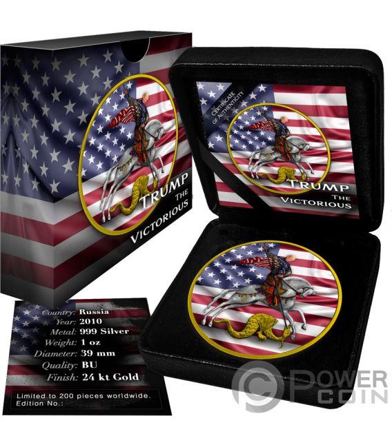 VICTORIOUS Saint George Trump 1 Oz Silver Coin 3 Rubles Russia 2010
