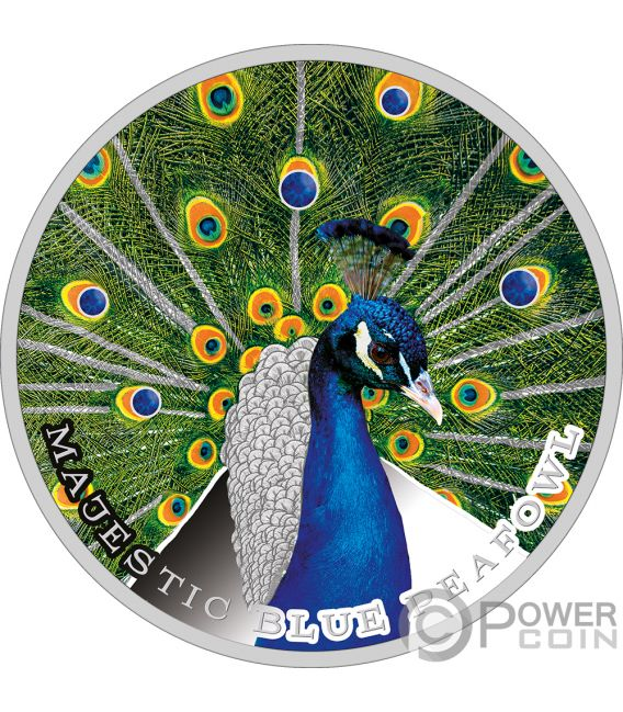 MAJESTIC BLUE PEAFOWL Peacock 1 Oz Silver Coin 2$ Niue 2019