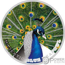MAJESTIC BLUE PEAFOWL Pavone 1 Oz Moneta Argento 2$ Niue 2019