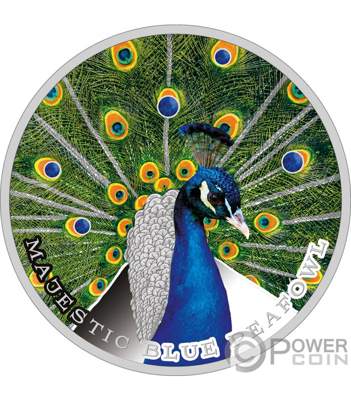 Majestic Blue Peafowl Peacock 1 Oz Silver Coin 2 Niue