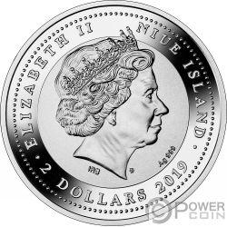 MAJESTIC BLUE PEAFOWL Pfau 1 Oz Silber Münze 2$ Niue 2019