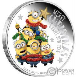 MINION MADE Season Greetings 1 Oz Moneda Plata 2$ Niue 2018