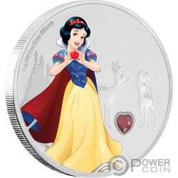 SNOW WHITE Biancaneve Disney Princess Gemstone 1 Oz Moneta Argento 2$ Niue 2019