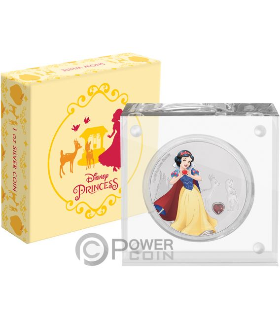SNOW WHITE Disney Princess Gemstone 1 Oz Silver Coin 2$ Niue 2019