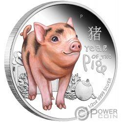 BABY PIG Cucciolo Maiale Lunar Year 1/2 Oz Moneta Argento 50 Centesimi Tuvalu 2019