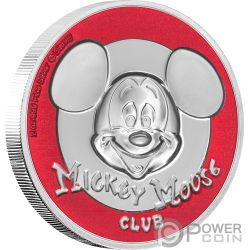 MICKEY MOUSE CLUB Topolino Ultra High Relief Disney 2 Oz Moneta Argento 5$ Niue 2019