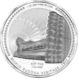 WAT PHO BUDDHA World Heritage Thailand Серебро Монета Бутан 2011