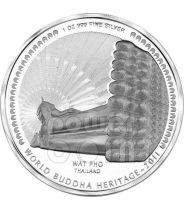 WAT PHO BUDDHA World Heritage Thailand Silver Coin Bhutan 2011