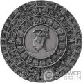 MAYAN CALENDAR Calendario Archeology Symbolism 2 Oz Moneda Plata 5$ Niue 2018