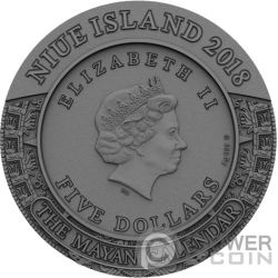 MAYAN CALENDAR Calendario Archeology Symbolism 2 Oz Moneta Argento 5$ Niue 2018