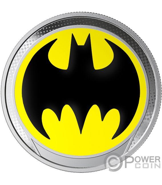 BAT SIGNAL Batsegnale Batman Glow in the Dark Moneta Argento 1$ Barbados 2019
