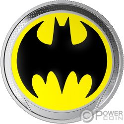 BAT SIGNAL Batsegnale Batman Glow in the Dark Moneta Argento 1$ Barbados 2019
