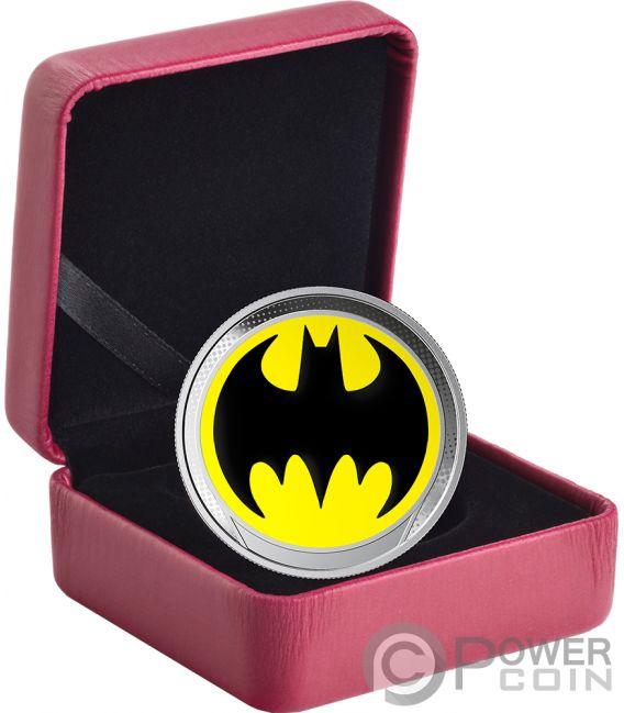 BAT SIGNAL Bati Señal Batman Glow in the Dark Moneda Plata 1$ Barbados 2019