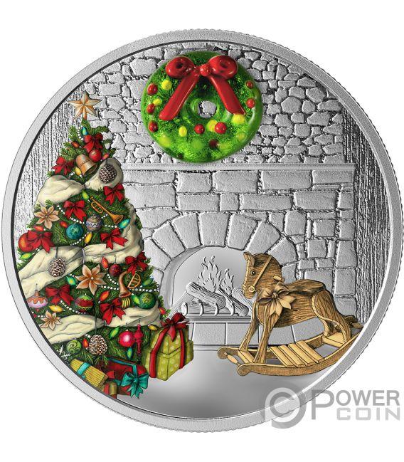 HOLIDAY WREATH Ghirlanda Murano Christmas 1 Oz Moneta Argento 20$ Canada 2019