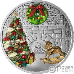 HOLIDAY WREATH Murano Christmas 1 Oz Серебро Монета 20$ Канада 2019