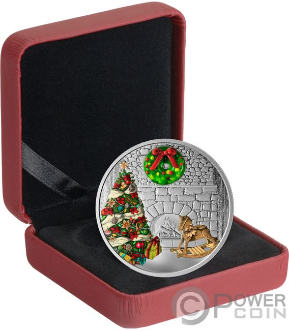 HOLIDAY WREATH Murano Christmas 1 Oz Silver Coin 20$ Canada 2019