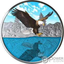 BALD EAGLE Aquila Calva Reflections 1 Oz Moneta Argento 20$ Canada 2019