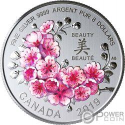 BRILLIANT CHERRY BLOSSOMS Gift Of Beauty Silver Coin 8$ Canada 2019