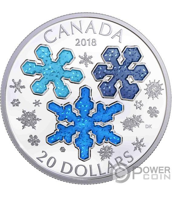 ICE CRYSTALS 1 Oz Silver Coin 20$ Canada 2018