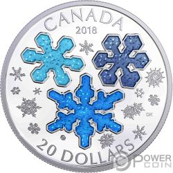 ICE CRYSTALS 1 Oz Silver Coin 20$ Canada 2018