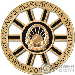 WHEEL OF FORTUNE Ruota Fortuna Moneta Argento 10 Denars Macedonia 2018