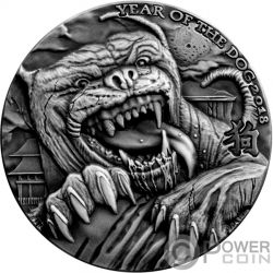 HOUND OF BASKERVILLES Dog Sherlock Holmes Ominous Lunar 1 Oz Серебро Монета 5000 Франков Чад 2018