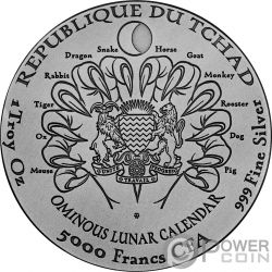HOUND OF BASKERVILLES Hund Sherlock Holmes Ominous Lunar 1 Oz Silber Münze 5000 Franken Chad 2018